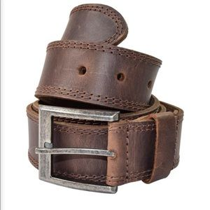 Men'Two Row stitching leather belt
